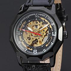 WINNER Męskie zegarek mechaniczny Do sukni/garnituru Zegarek na nadgarstek Nakręcanie automatyczne Hollow Grawerowanie Skóra Pasmo
