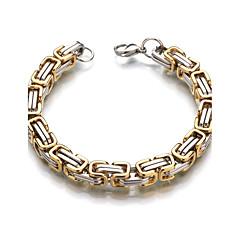 للرجال للمرأة أساور السلسلة والوصلة رسمي كلاسيكي الفولاذ المقاوم للصدأ Geometric Shape مجوهرات من أجل زفاف فضفاض