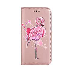 Кейс для Назначение Apple iPhone X iPhone 8 Бумажник для карт Кошелек со стендом Флип С узором Чехол Фламинго Твердый Искусственная кожа