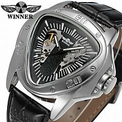 levne Mechanické hodinky-WINNER Pánské mechanické hodinky Automatické natahování 30 m S dutým gravírováním Cool Kůže Kapela Analogové Na běžné nošení Černá - Bílá Černá / Nerez