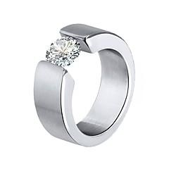Χαμηλού Κόστους Δαχτυλίδια-Ανδρικά Γυναικεία Εντυπωσιακά Δαχτυλίδια Cubic Zirconia Χαριτωμένο Μοντέρνα Ανοξείδωτο Ατσάλι Circle Shape Κοσμήματα Πάρτι Γαμήλια Τελετή