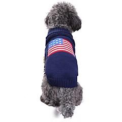 Kat Hond kostuums Jassen Truien Hondenkleding Casual/Dagelijks Houd Warm Bruiloft Halloween Kerstmis Nieuwjaar Vlag American / USA Blauw