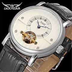 abordables Relojes de Hombre-Jaragar Hombre Reloj de Pulsera Cuerda Automática Cool Piel Banda Analógico Casual Moda Blanco Negro