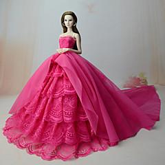 お買い得  バービー人形用アパレル-ドレス ドレス ために バービー人形 ローズレッド ドレス ために 女の子の 人形玩具