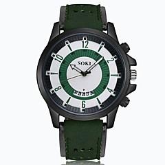 お買い得  大特価腕時計-男性用 リストウォッチ クォーツ 30 m カレンダー レザー バンド ハンズ チャーム ファッション ブラック / ブラウン / グリーン - Brown カーキ色 フルーツグリーン