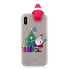 Недорогие Кейсы для iPhone 7-Кейс для Назначение Apple iPhone X iPhone 8 Plus Защита от удара Задняя крышка 3D в мультяшном стиле Рождество Мягкий TPU для iPhone X