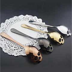 abordables Pajitas y mezcladores-cucharas de café cuchara de cráneo inoxidable helado de postre cuchara de té de caramelo de halloween
