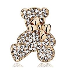 お買い得  ブローチ-女性用 かわいい ベア 合成ダイヤモンド イミテーションダイヤモンド ブローチ  -  甘い ゴールド ブローチ 用途 日常
