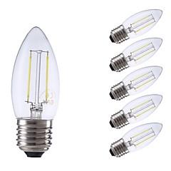 お買い得  LED 電球-GMY® 6本 2W 250/200lm E27 フィラメントタイプLED電球 C35 2 LEDビーズ COB 装飾用 LEDライト 温白色 クールホワイト 220-240V