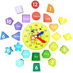 Ahşap Saat Oyuncağı Eğitici Oyuncak Oyuncaklar uçak Circle Shape Hayvanlı Okul Çocuklar Eğitim Yeni Dizayn Parçalar