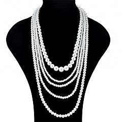 preiswerte Halsketten-Damen Mehrschichtig Layered Ketten - Künstliche Perle Modisch, Mehrlagig Weiß Modische Halsketten Schmuck Für Party, Ausgehen