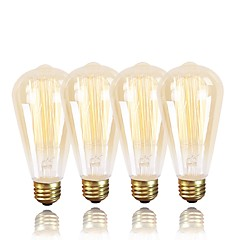 cheap LED & Lighting-GMY® 4pcs 60W E26/E27 ST64 Warm White 2200 K Retro Dimmable Decorative Incandescent Vintage Edison Light Bulb AC 220-240V V