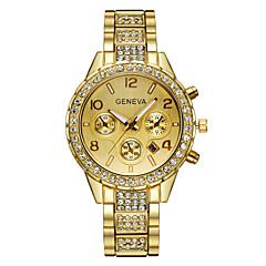 お買い得  レディース腕時計-Geneva 女性用 クォーツ リストウォッチ 模造ダイヤモンド 合金 バンド 光沢タイプ / ファッション シルバー / ゴールド