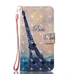 Недорогие Кейсы для iPhone X-Кейс для Назначение Apple iPhone X iPhone X Бумажник для карт Кошелек со стендом Чехол Эйфелева башня Твердый Кожа PU для iPhone X