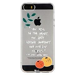 Недорогие Кейсы для iPhone 6 Plus-Кейс для Назначение Apple iPhone 6 iPhone 7 Полупрозрачный С узором Рельефный Кейс на заднюю панель Слова / выражения Фрукты