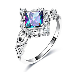 preiswerte Ringe-Damen Synthetischer Aquamarin Bandring - Kupfer, Glas Europäisch, Modisch 7 / 8 / 9 Silber Für Hochzeit Party