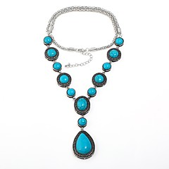 abordables Bijoux pour Femme-Femme Turquoise Colliers Déclaration - Turquoise Goutte Rétro, Bohème Turquoise Colliers Tendance Bijoux Pour Cadeau, Soirée