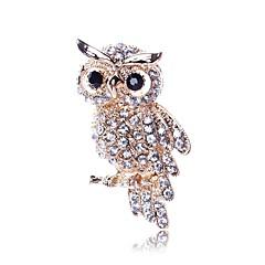 お買い得  ブローチ-女性用 ふくろう ラインストーン イミテーションダイヤモンド ブローチ  -  動物 / クラシック ゴールド ブローチ 用途 日常