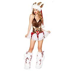 hesapli -Noel Giysisi Noel Şapkası Kadın Yılbaşı Festival / Tatil Cadılar Bayramı Kostümleri Kahve Noel