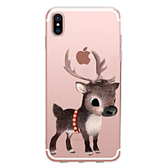 billige Etuier til iPhone 7 Plus-Etui Til Apple iPhone X iPhone 8 Transparent Mønster Bagcover Dyr Jul Blødt TPU for iPhone X iPhone 8 Plus iPhone 8 iPhone 7 Plus iPhone