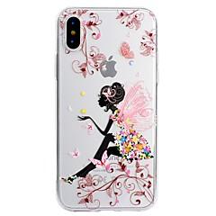 Недорогие Кейсы для iPhone 7 Plus-Кейс для Назначение Apple iPhone X iPhone 8 Plus С узором Кейс на заднюю панель Бабочка Соблазнительная девушка Мягкий ТПУ для iPhone X