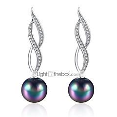 preiswerte Ohrringe-Damen Perle Kronleuchter Tropfen-Ohrringe - Künstliche Perle, Zirkon, versilbert Erklärung, überdimensional Silber Für Alltag Party