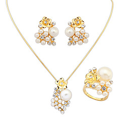 お買い得  ジュエリーセット-女性用 真珠 ジュエリーセット  -  真珠, 人造真珠, ラインストーン 欧風, ファッション 含める 用途 結婚式 パーティー 日常 / リング / イヤリング・ピアス / ネックレス