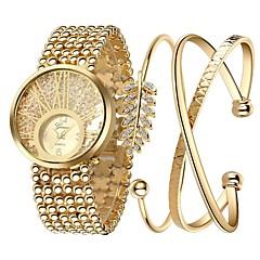 preiswerte Damenuhren-Damen Armband-Uhr Chinesisch Chronograph / leuchtend / Imitation Diamant Legierung Band Luxus / Glanz / Elegant Gold / Edelstahl / Großes Ziffernblatt / Ein Jahr / SSUO LR626