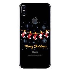 Недорогие Кейсы для iPhone 7-Кейс для Назначение Apple iPhone X iPhone 8 Прозрачный С узором Кейс на заднюю панель Рождество Мягкий ТПУ для iPhone X iPhone 8 Pluss