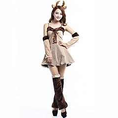 Rendier Cosplay Kostuums Vrouwelijk Kerstmis Festival / Feestdagen Halloweenkostuums Beige Kleurenblok