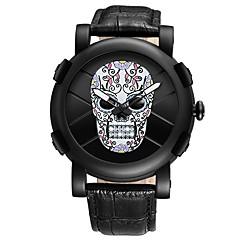 preiswerte Herrenuhren-Herrn Quartz Armbanduhr Japanisch Chronograph / Wasserdicht / Totenkopf / Cool Echtes Leder Band Luxus / Freizeit / Totenkopf / Modisch