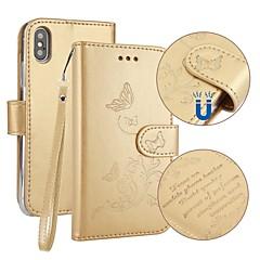 Недорогие Кейсы для iPhone 7 Plus-Кейс для Назначение Apple iPhone X iPhone 8 Бумажник для карт Кошелек со стендом Флип Рельефный Чехол Бабочка Твердый Кожа PU для iPhone
