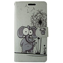 billige Etuier/covers til Huawei-Etui Til Huawei P8 Lite Kortholder Pung Med stativ Flip Fuldt etui Elefant Hårdt PU Læder for Huawei