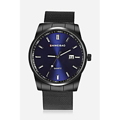 お買い得  メンズ腕時計-SHI WEI BAO 男性用 リストウォッチ クォーツ カレンダー ステンレス バンド ハンズ カジュアル ファッション ブラック - ホワイト ブラック ダークブルー 1年間 電池寿命 / SSUO 377