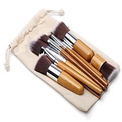 billige Makeupbørster-11pcs Foundationbørste Pudderbørste Øjenvippe Kam (Flad) Eyelinerbørste Læbebørste Øjenskyggebørste Rougebørste Brush Sets Nylon Børste