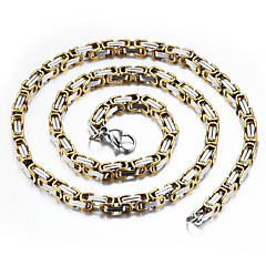 Недорогие Ожерелья-Муж. Ожерелья-цепочки - Позолота Камни, Мода, Хип-хоп Золотой, Серебряный Ожерелье Бижутерия Назначение Повседневные, Для улицы