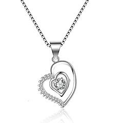 preiswerte Halsketten-Damen Kubikzirkonia Anhängerketten - Zirkon, Silber Herz, Liebe Klassisch, Retro, Modisch Silber Modische Halsketten 1 Für Hochzeit, Verlobung