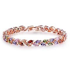 abordables Bijoux pour Femme-Femme Rubis synthétique Bracelet - Zircon Forme de Feuille Classique, Bohème, Doux Bracelet Arc-en-ciel Pour Noël Nouvelle Année