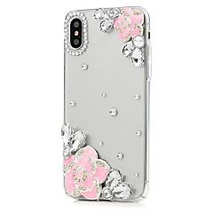 Недорогие Кейсы для iPhone 6 Plus-Кейс для Назначение Apple iPhone X iPhone 8 Plus Стразы Чехол Цветы Твердый Кожа PU для iPhone X iPhone 8 Pluss iPhone 8 iPhone 7 Plus