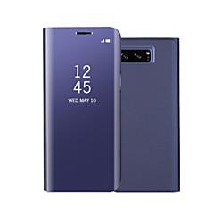 Недорогие Чехлы и кейсы для Galaxy Note 5-Кейс для Назначение SSamsung Galaxy Note 8 Note 5 со стендом Зеркальная поверхность Флип Авто Режим сна / Пробуждение Чехол Сплошной цвет