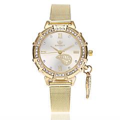 preiswerte Damenuhren-Damen Armbanduhr Quartz Imitation Diamant Legierung Band Analog Blätter Freizeit Modisch Gold - Gold