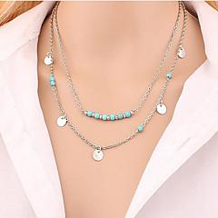 preiswerte Halsketten-Damen Türkis Anhängerketten - vergoldet, Türkis Personalisiert, Grundlegend, Doppelschicht Silber, Golden Modische Halsketten Für Party, Alltag, Normal