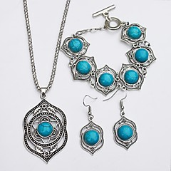 abordables Bijoux pour Femme-Turquoise Ensemble de bijoux - Turquoise simple, Ethnique Comprendre Boucles d'oreille goutte Collier Vert Pour Quotidien