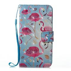 Недорогие Кейсы для iPhone X-Кейс для Назначение Apple iPhone X iPhone 8 Бумажник для карт Кошелек со стендом Чехол Фламинго Твердый Кожа PU для iPhone 8 Pluss iPhone