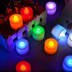 お買い得  LED アイデアライト-1セットキャンドルライトコールドホワイトrgbピンクレッドブルーイエローグリーンボタンバッテリーロマンチックな装飾