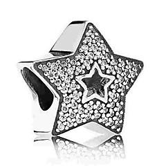 tanie Koraliki-Biżuteria DIY 1 szt Korálky Imitacja diamentu Stop Silver Hvězdičky Koralik 0.5 cm majsterkowanie Naszyjniki Bransoletki