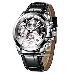 お買い得  大特価腕時計-CADISEN 男性用 リストウォッチ クォーツ 30 m 耐水 カレンダー ストップウォッチ 本革 バンド ハンズ ファッション ブラック - ブラック ブラック / ホワイト 2年 電池寿命 / 夜光計