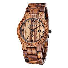 お買い得  メンズ腕時計-男性用 リストウォッチ ユニークなクリエイティブウォッチ 腕時計 ウッド 日本産 クォーツ 30 m 耐水 カレンダー ウッド バンド ハンズ ぜいたく ブラウン - Brown コーヒー レッドブラウン 2年 電池寿命