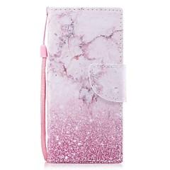 Недорогие Чехлы и кейсы для Sony-Кейс для Назначение Sony Xperia XZ1 Xperia XZ1 Compact Бумажник для карт Кошелек со стендом Флип С узором Магнитный Чехол Мрамор Твердый