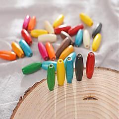 abordables Perlas-Joyería DIY 30 PC Cuentas Compuestos de madera y plástico Arco Iris Redondo Talón 0.8*0.23 cm DIY Gargantillas Pulseras y Brazaletes